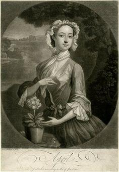 """April"" - Print by Thomas Burford (1745)"