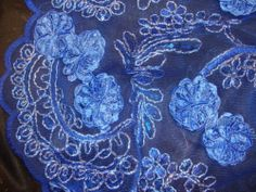 """Royal Blue Floral Embroidered Sequin Lace Flower 55"""" Fabric by The Yard   eBay"""