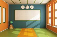 A no furniture, empty, orange and green classroom with sun shining through from large rectangular windows, a large checkered whiteboard on the back wall, and three circular clocks above it Space Classroom, Classroom Setting, Classroom Environment, Classroom Design, School Classroom, Classroom Organization, Classroom Decor, Classroom Management, Learning Spaces