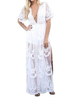 3e74ca049cc9 Extra Off Coupon So Cheap Eleter Women s Deep V-Neck Lace Romper Short  Sleeve Long Dress X-Large White