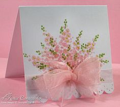 Stampin' Up! ... hand crafted 3X3 notecard ... bouquet from repeated stamping of wildflower image ... luv the multi-loop organdy bow and scalloped border edge ... sweet!