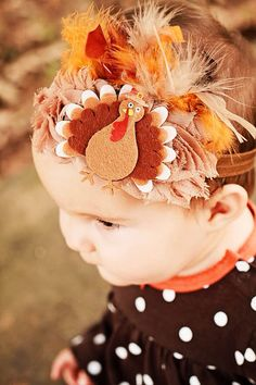 Thanksgiving baby / Turkey feathered shabby by SweetGirlyBoutique, $12.00