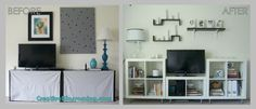 BEFORE AND AFTER TV Entertainment Center in Living Room with Ikea Expedit Bookshelves mod vintage Moroccan decor black white silver turquoise gray