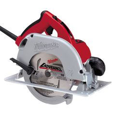 The Tilt-Lok handle on Milwaukee's 6390-20 is the most revolutionary concept for circular saws in years. The eight position cushioned top handle adjusts to any cutting application maximizing comfort and control. Weighing in at 10.4 pounds and delivering 3.25 maximum horsepower, this tool offers the best power to weight ratio in the industry. The blade can bevel to 50 degrees and offers superior visibility and a clear sight line from either side. Helical steel gears and a 22 amp switch are… Circular Saw For Sale, Circular Saw Reviews, Best Circular Saw, Circular Saw Blades, Framing Construction, Construction Tools, Electric Power Tools, Power To Weight Ratio