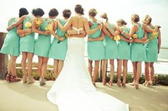 Mint bridesmaid dresses - Cute! This makes me not feel so bad about the number of bridesmaids I want! ;)