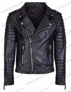 New Men's Genuine Lambskin Leather Jacket Slim fit Biker Motorcycle jacket NY19 #AriesLeathers #Motorcycle