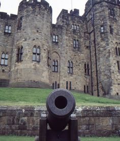 Alnwick Castle Cannon. The castle is located near Ainwick, Northumberland, UK It served as the seat of the Dukes of Northumberland.