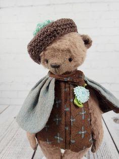Teddy bear Lisa,  available for adoption, artist teddy, OOAK bear teddy, fabric art toy , collectible teddy, Stuffed toy by RanaVerdeShop on Etsy