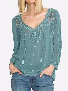FloryDay / Color Block Casual V-Neckline Long Sleeve Blouses Denim Vintage, T Shirt Vintage, Vintage Dress, Vintage Clothing, Blouse Jaune, Embroidered Blouse, Types Of Sleeves, Blouses For Women, Casual Tops For Women