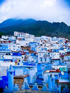 Chefchaouen, Morocco - the blue city.  This is amazing!