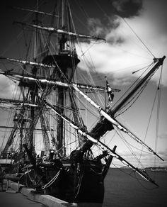 Old ship at docks