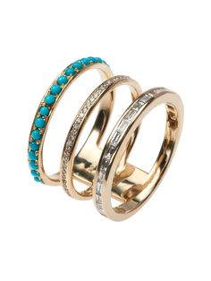 Nikos Koulis - 18k Turquoise and Diamond Classic Moments Triple Stack Ring - at - London Jewelers