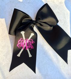 Glitter Monogram Hair Bow with Batons by PoshPrincessBows1 on Etsy, $12.99