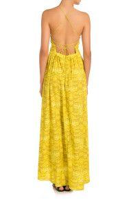 YELLOW Ibis Strappy Feather Print Maxi Dress