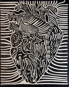 Anatomical Heart, Hand Made Linoleum Block Print, sold as ready to hang wall art, made to order in a variety of colors.