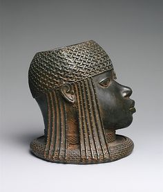 Head of an Oba, 16th century (ca. 1550), Nigeria, Edo peoples, court of Benin, Brass, 23.5 cm   The Metropolitan Museum of Art