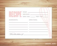 Old Fashioned Recipe Card by fineanddandypaperie on Etsy, $12.00