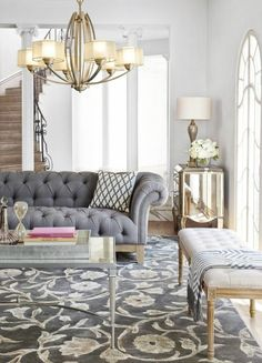 Beautiful French Country Living Room Decor Ideas - Page 12 of 88 Formal Living Rooms, Living Room Grey, Home And Living, Living Room Decor, Bench In Living Room, Grey Living Room Furniture, Classic Living Room, Modern Living, Living Room Inspiration