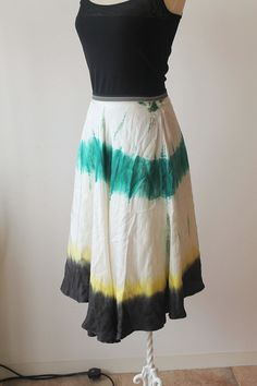 Vintage Silk Tie Dye Skirt by TequilaCloset on Etsy, $32.00