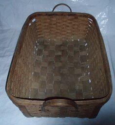 Large wood woven slat laundry basket antique FREE SHIP   OBO