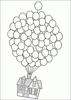 Up-Use this pic but let kids use fingerprints in balloons for color and real string. Make your world more colorful with free printable coloring pages from italks. Our free coloring pages for adults and kids. Coloring Book Pages, Printable Coloring Pages, Disney Colouring Pages, Wedding Coloring Pages, Free Coloring, Coloring Pages For Kids, Colouring In, Coloring Pictures For Kids, Up House Drawing