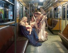 """"""" In an ongoing series entitled, """"Art History in Contemporary Life"""", artist Alexey Kondakov skillfully photoshops characters from Renaissance paintings into present day photos he has taken around Europe. """""""