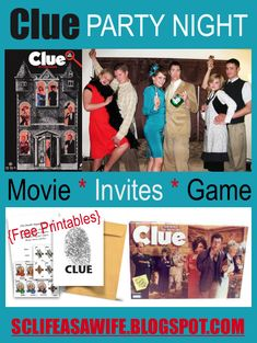 Clue Themed Parties, Birthday Party Themes, Birthday Ideas, 35th Birthday, Mystery Dinner Party, Mystery Parties, Mystery Games, Movie Party, Party Fun