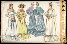 Simplicity 5569 Vintage 1970s Prairie Wedding Dress Pattern B40