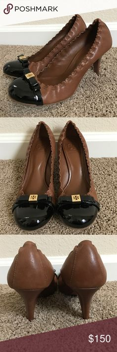 """Tory Burch """"Romy"""" heels Like-new condition...never worn outside...beautiful brown leather with black patent leather toe...gold hardware Tory Burch Shoes Heels"""