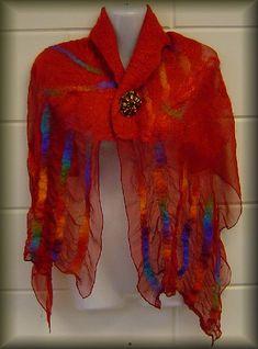 nuno chiffon rood kraag by dutch felt art, via Flickr