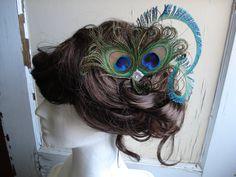 Peacock Feather Hair Clip Peacock Fascinator Peacock by Axentz