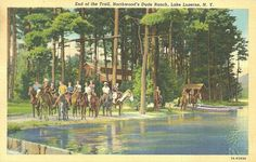 Northwood's Dude Ranch, Lake Luzerne New York Linen Vintage Postcard PM 1939