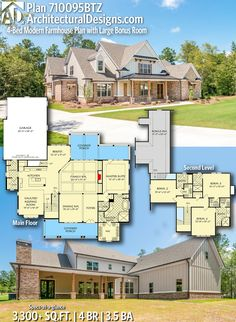3300 Sq Ft House Plans Awesome Plan Btz 4 Bed Modern Farmhouse Plan with Bonus Large House Plans, New House Plans, Dream House Plans, House Floor Plans, My Dream Home, Family House Plans, Dream Houses, Modern Bungalow House, Modern House Design