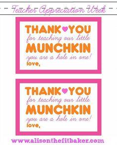 www.alisonthefitbaker.com | Teacher gift for Teacher Appreciation Week Dunkin Donuts Munchkin Treats
