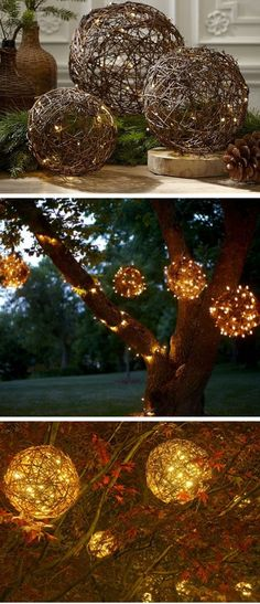 Willow Branch LED Pendant Lamp | Inexpensive Christmas Decorations on a Budget | Cheap Weddding Outdoor Wedding Ideas