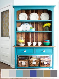 Teal and wood hutch