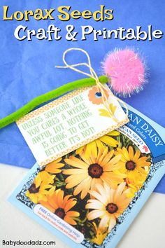 Lorax Truffula Seeds Craft and Printable - Baby Doodadz Dr Suess Lorax Activity Dr Seuss Lorax, Dr Seuss Week, The Lorax, Dr Suess, Dr Seuss Activities, Kindergarten Activities, Activities For Kids, Daycare Crafts, Crafts For Kids