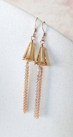 Rose Gold Earrings -rose gold filled, hand beaded, Swarovski gold shadwo crystal, love, quirky, chic, pink gold fashion, everyday pretty, by ColorMeMissy, www.colormemissy.com