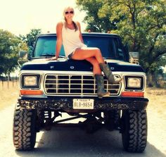 Beautiful chick and a Ford pickup