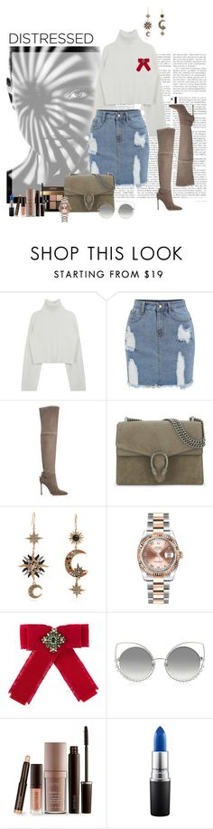 """""""Distressed"""" by stylemeprivate ❤ liked on Polyvore featuring Pour La Victoire, Bobbi Brown Cosmetics, Gucci, Roberto Cavalli, Rolex, Marc Jacobs, Laura Mercier and MAC Cosmetics"""
