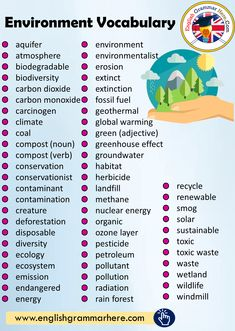 Environment Vocabulary List – English Grammar Here – English Lessons English Writing Skills, Learn English Grammar, English Vocabulary Words, Learn English Words, English Phrases, English Language Learning, English Lessons, Teaching English, English English