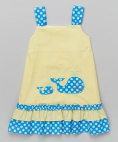 Another great find on #zulily! Yellow Gingham Whale Shift Dress - Infant, Toddler & Girls #zulilyfinds