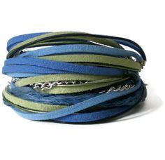 bohemian wrap bracelet sari ribbon suede leather by jcudesigns, £18.00