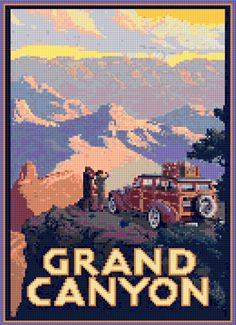 Cross stitch pattern Vintage Grand Canyon travel poster PDF - New EASY chart with one color per sheet AND regular chart! Two charts in one! by HeritageCharts on Etsy