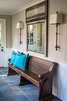Foyer features a vintage church pew. # Foyer and Entryway Ideas church features foyer Ideas pew Vintage Church Lobby, Church Foyer, Church Interior Design, Luxury Interior Design, Church Design, Style At Home, Church Pew Bench, Church Pews, Foyer Decorating