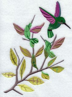 Hummingbird Dance design (G3526) from www.Emblibrary.com -- this one needs a fair bit of editing, imo, before use due to the gradual darkening going from the lower left to the upper right.  Once edited, however, the transition of colors from pale yellow to brown to green to purple would make for a lovely design!