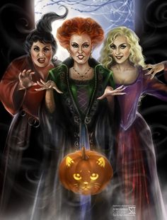 """Hocus Pocus by `daekazu on deviantART ~ Disney ~ Halloween ~ """" Mary, Winifred and Sarah! The three Sanderson sisters! Played by Kathy Najimy, Bette Midler and Sarah Jessica Parker! And... Thackery Binx as a Halloween pumpkin. ;] """" ~ as quoted by artist on his site."""