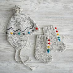 Rainbow Pompom Hat and Booties   The Land of Nod