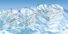 Les Menuires, Méribel and Val Thorens ski map Stations De Ski, Skier, Map Canvas, Saint Martin, French Alps, Trail Maps, Snow Skiing, Spring Break