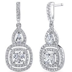 Sterling Silver Cushion and Pear White Cubic Zirconia Earrings SE8308